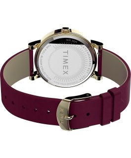 Orologio Full Bloom 38 mm con cinturino in pelle Oro/Bordeaux/Rosa large