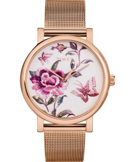 Orologio Full Bloom 38 mm con bracciale mesh Oro rosa/Rosa large