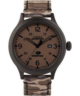 Timex x Mossy Oak Expedition Scout 43mm Fabric Strap Watch Black/Brown large