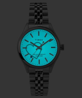 Reloj Waterbury Neon de 34 mm con correa metálica de acero inoxidable Acero inoxidable/Blanco large