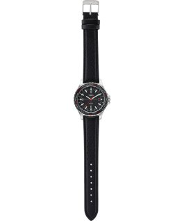 Navi World Time 38mm Leather Strap Watch Stainless-Steel/Black large