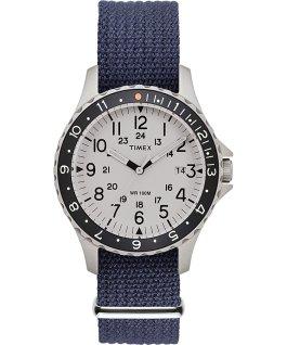 Montre Navi Ocean 38mm Bracelet en tissu Bleu/Blanc large