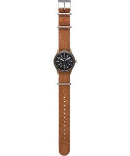Zegarek MK1 40 mm z dekatyzowanym paskiem skórzanym Zielony/Brązowy large