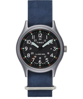 Montre MK1 40mm Bracelet en cuir délavé à la pierre Argenté/Bleu/Noir large