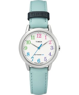 Easy Reader Color Pop 30mm Leather Strap Watch Amz Silver-Tone/Blue/White large