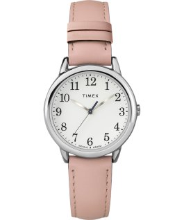 Easy Reader 30mm Leather Strap Watch Amz Silver-Tone/Pink/White large