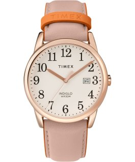 Easy Reader Color Pop 38mm Leather Strap Watch Amz Rose-Gold-Tone/Pink/Cream large