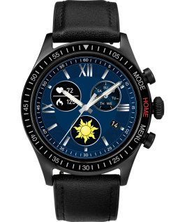 iConnect by Timex Pro 43mm Leather Strap Smartwatch Black/Blue large