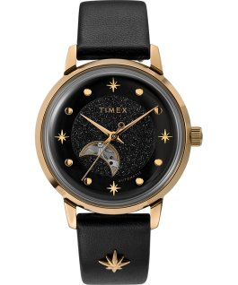 Celestial Opulence Automatic 38mm Leather Strap Watch with Open Heart Moon Dial Gold-Tone/Black large