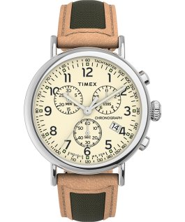 Timex Standard Chronograph 41mm Fabric with Leather Strap Watch Silver-Tone/Tan/Cream large