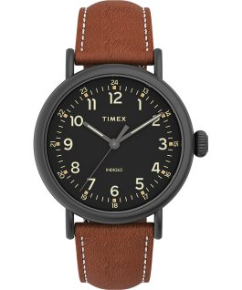 Montre Standard en cuir 40 mm Gunmetal/Black/Brown large