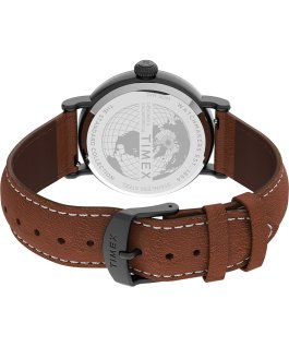 Standard 40mm Leather Strap Watch Gunmetal/Black/Brown large