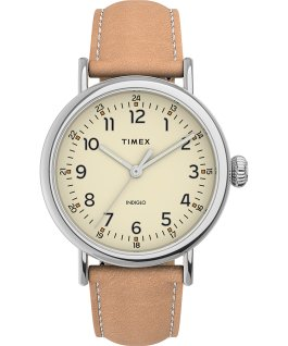 Montre Standard en cuir 40 mm Silver-Tone/Cream/Tan large