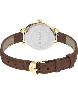 Timex Standard Demi 32mm Leather Strap Watch Gold-Tone/Brown/White large