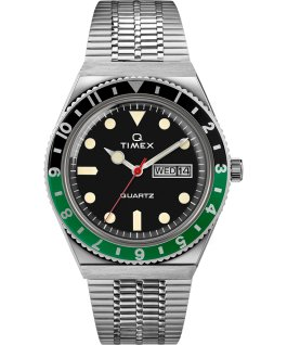 Montre Q Timex Reissue 38 mm Bracelet en acier inoxydable Stainless-Steel/Black/Green large