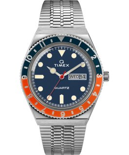 Q Timex Neuauflage mit Edelstahlarmband, 38 mm Stainless-Steel/Blue/Orange large