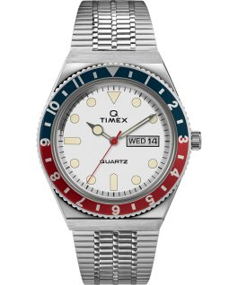 Reedición del reloj Q Timex de 38 mm con correa metálica de acero inoxidable Stainless-Steel/White/Red/Blue large