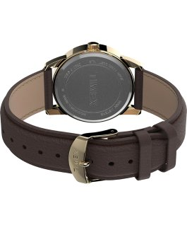 Easy Reader Bold 38mm Leather Strap Watch Gold-Tone/Brown/White large