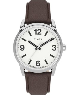 Easy Reader Bold 38mm Leather Strap Watch Silver-Tone/Brown/White large