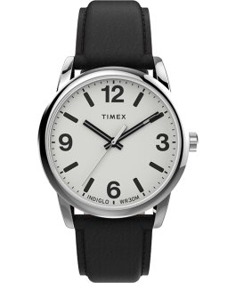 Easy Reader Bold 38mm Leather Strap Watch Silver-Tone/Black/White large