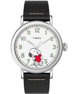 Timex x Peanuts Valentinstag Standard mit Lederarmband, 40 mm Silberfarben/schwarz/weiß large