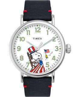 Timex x Peanuts Standard USA 40mm Leather Strap Watch Blue/Silver-Tone large