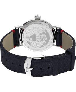 Orologio Timex x Peanuts San Valentino Standard 40 mm con cinturino in pelle Blue/Silver-Tone large