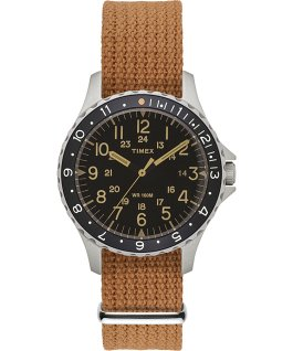 Navi Ocean 38mm Fabric Strap Watch Black/Orange large