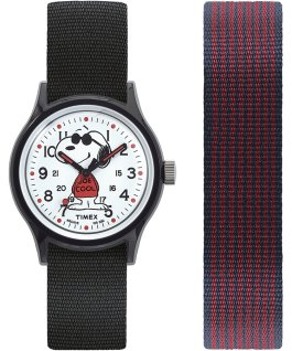 MK1 x Peanuts Featuring Snoopy 36mm Fabric Strap Watch Box Set Black/White large