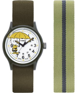 MK1 x Peanuts Featuring Charlie Brown 36mm Fabric Strap Watch Box Set Green/White large