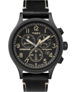 Expedition Scout Chronograph 42mm Leather Watch Black large