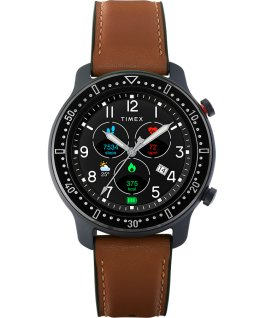 Timex Metropolitan R 42mm Leather and Silicone Strap Watch Black/Brown large
