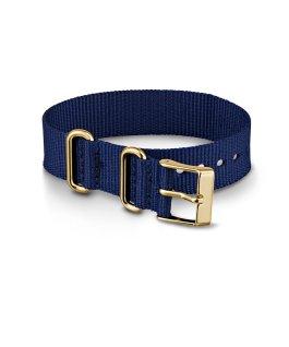 Grand bracelet en nylon bleu avec touches dorées 16mm