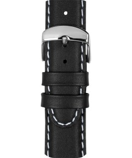 20mm Leather with White Stiching Strap Black large