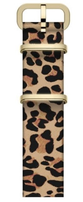 16mm Leather Slip Thru Single Layer Strap With Animal Prints Tan large