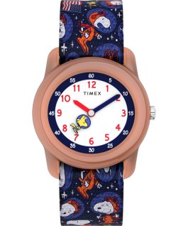 Timex x Space Snoopy Kids Analog mit elastischem Textilarmband, 28 mm Orange/Blau large