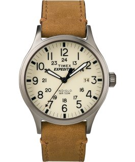 Expedition Scout 40mm Leather Watch Gray/Tan/Natural large