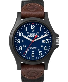 Acadia Date 40mm Fabric Strap Watch Black/Blue large