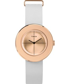 Coffret montre à bracelet en cuir Variety 34 mm Or rose/Blanc large