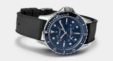 Navi XL 41mm with a navy dial and black silicone strap