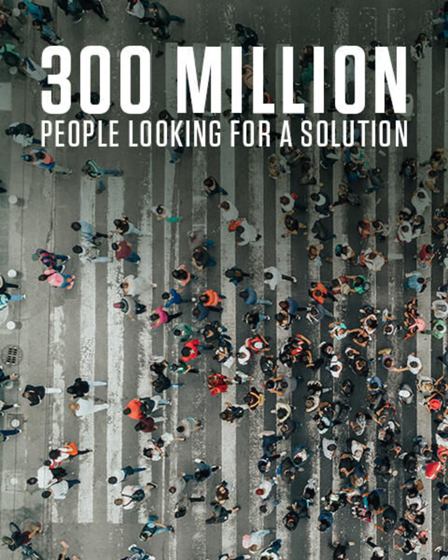 Crowd of people with the statement 300 million people looking for a solution
