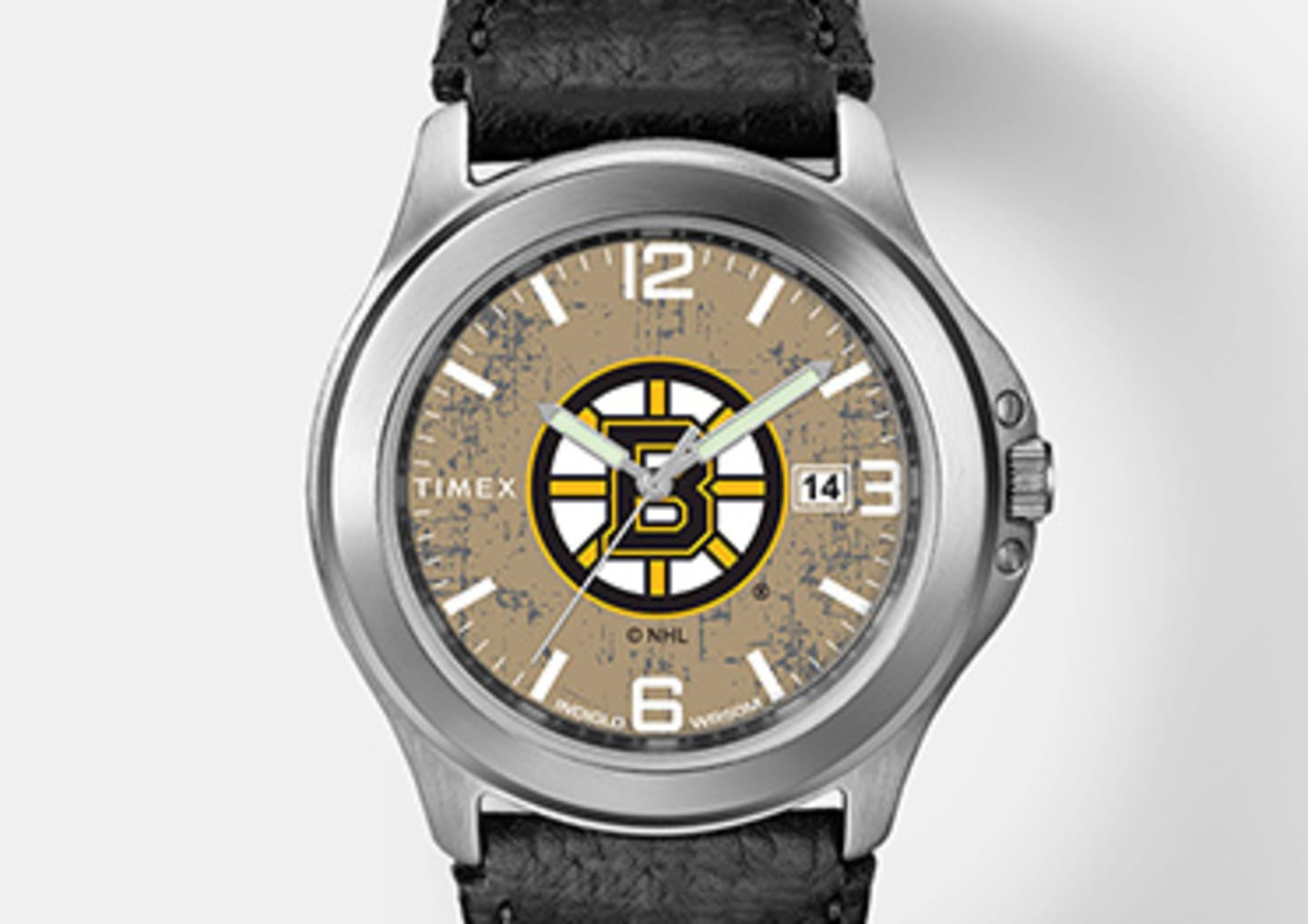Silver Boston Bruins watch with black leather straps and logo in the center emphasizing men's watches