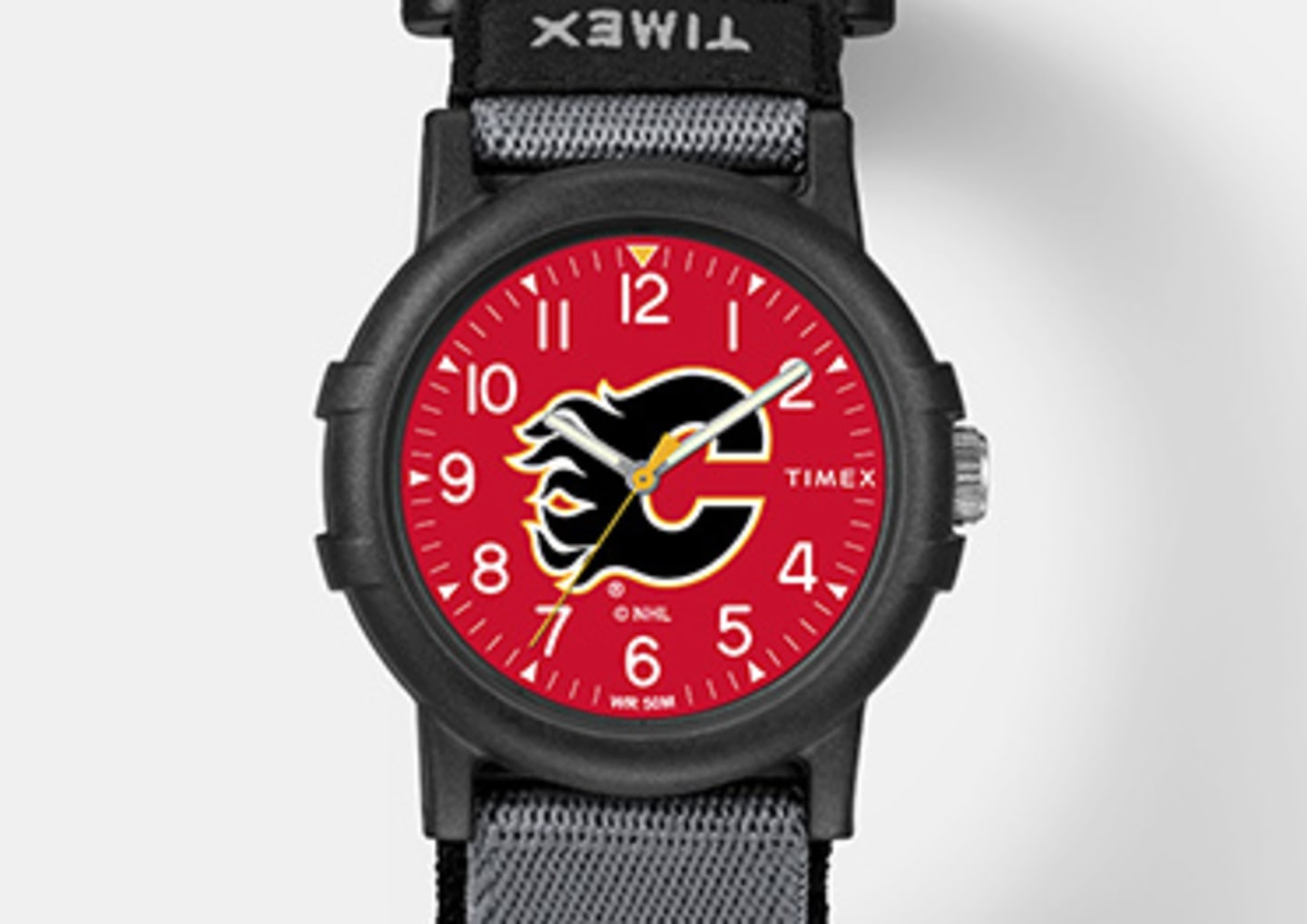 Black Calgary Flames watch with logo in the center emphasizing kid's watches