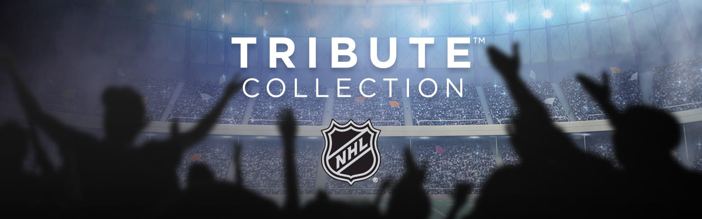 NHL header banner with logo in the center and fans in the background cheering