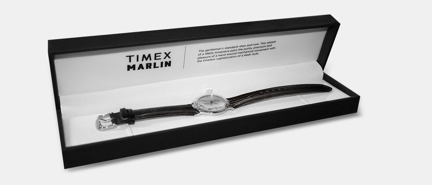 The Gentleman's Hand Wound Timex Silver Marlin Watch with black leather strap in box with quote