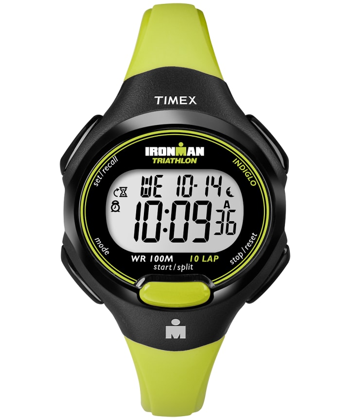 IRONMAN Essential 10 Mid-Size Resin Strap Watch Black/Green large