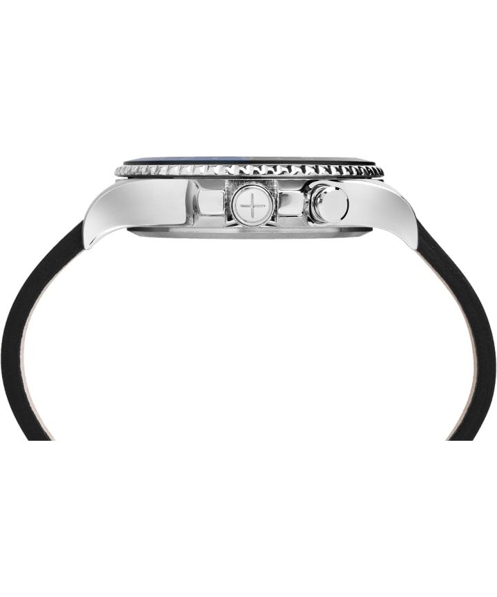 Allied Three GMT 43mm, grande, bracelet en cuir acier inoxydable/noir