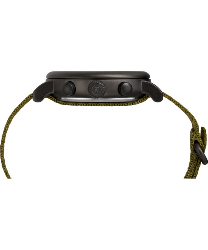 Timex® Standard Chronograph 41mm Fabric Strap Watch Black/Green large