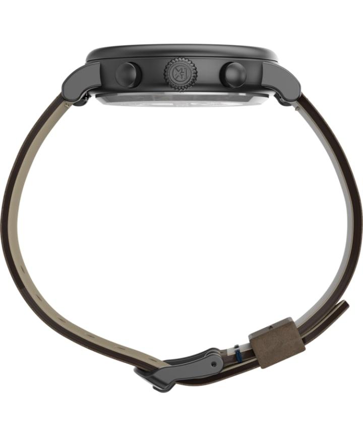 Timex® Standard Chronograph 41mm Leather Strap Watch Gunmetal/Brown/White large