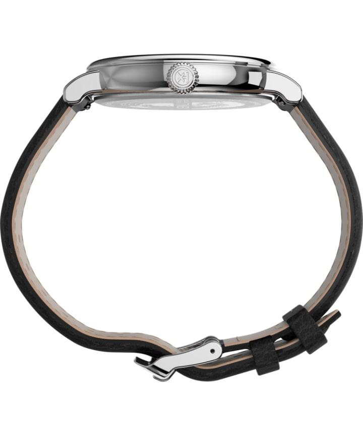Timex® Standard XL 43mm Leather Strap Watch Silver-Tone/Black/White large